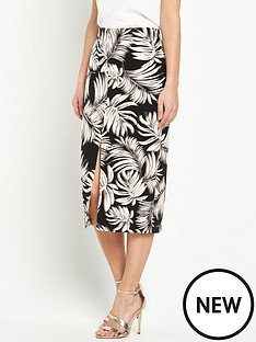 wallis-palm-print-split-front-pencil-skirt