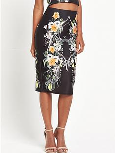 miss-selfridge-tropical-print-pencil-skirt