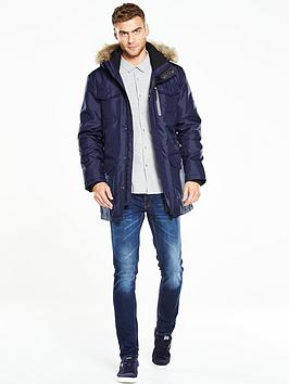 V By Very Hooded Parka Coat With Faux Fur Trim