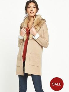 miss-selfridge-fur-collar-coatigan