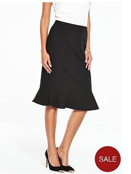 oasis-fluted-hem-spot-pencil-skirt-black