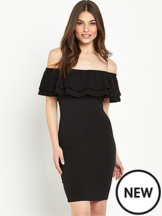 miss-selfridge-double-layer-bardot-dress-black