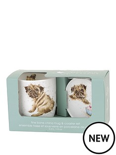 portmeirion-wrendale-pug-love-mug-and-coaster-set