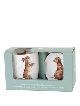 portmeirion-wrendale-hello-sausage-mug-and-coaster-set