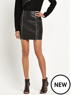 replay-leather-look-zip-front-skirtnbsp