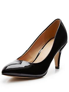 V By Very Lisa Almond Toe Mid Heel Court Black Patent