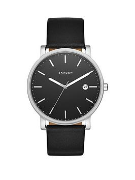 skagen-hagen-black-dial-silver-tone-case-black-leather-strap-mens-watch