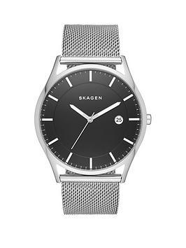 skagen-holst-black-dial-silver-tone-stainless-steel-mesh-bracelet-mens-watch