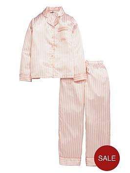 v-by-very-girls-satin-candy-stripe-pyjamas