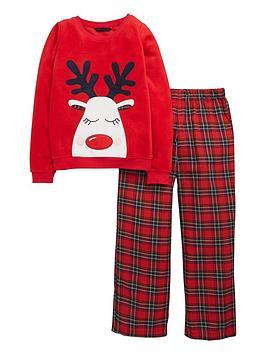 v-by-very-girls-reindeer-tartan-pyjamas