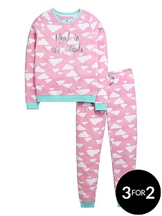 v-by-very-girls-head-in-the-clouds-fleece-twosie-pyjamas