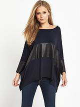 SLOUCHY LEATHER INSERT TOP NAVY