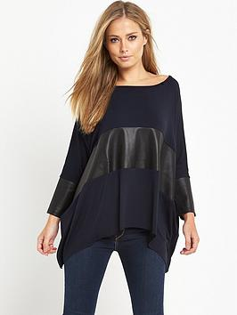 replay-slouchy-leather-insert-top-navy