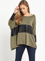 SLOUCHY LEATHER INSERT TOP TAUPE