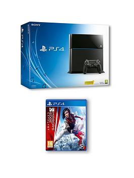 playstation-4-500gb-console-with-mirrors-edge-catalyst-and-optional-extra-controller-365-days-psn-subscription