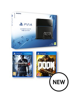 playstation-4-1tb-console-with-uncharted-4-a-thiefs-end-and-doom-and-optional-extra-controller-and-365-days-subscription