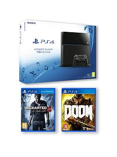 playstation-4-1tb-console-with-uncharted-4-a-thiefs-end-and-doom-and-optional-extra-controller-and-playstation-plus