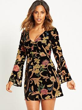 rochelle-humes-velvet-burn-out-mini-dress