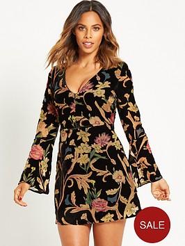 rochelle-humes-velvet-burn-out-mini-dress