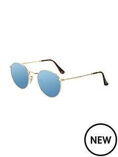 ray-ban-round-flat-lens-sunglasses-gold