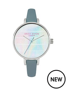 kylie-iridescent-striped-dial-grey-strap-ladies-watch
