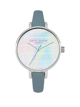 kylie-iridescent-striped-dial-grey-strap-ladies-watch
