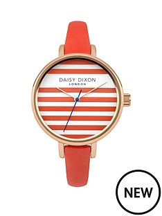 daisy-dixon-lauren-striped-dial-orange-strap-ladies-watch