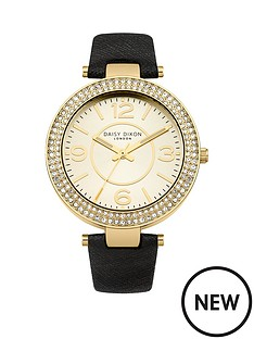 lily-champagne-dial-black-leather-strap-ladies-watch