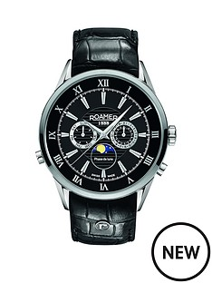 roamer-roamer-superior-black-dial-moonphase-black-leather-strap-mens-watch