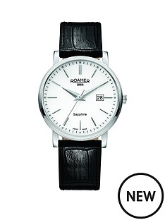 roamer-classic-line-white-dial-black-leather-strap-mens-watch