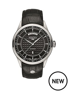 roamer-roamer-superior-day-black-dial-black-leather-strap-mens-watch