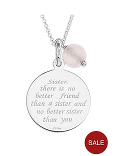the-love-silver-collection-sterling-silver-and-rose-quartz-bead-sister-message-pendant