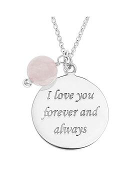 the-love-silver-collection-sterlingnbspsilver-and-rose-quartz-bead-love-message-pendant