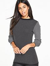 High Neck Stripe Compact Knit Jumper