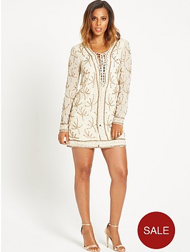 rochelle-humes-long-sleeve-embellished-dress-cream