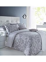 Paisley Duvet Cover Set in Black and White