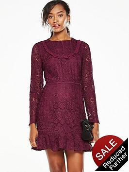 v-by-very-lace-flippy-hem-dress-maroon