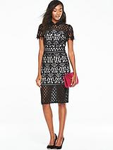 Lace Dress With Collar - Nude/Black