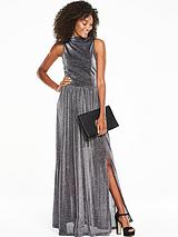 Metallic High Neck Split Front Maxi Dress - Silver