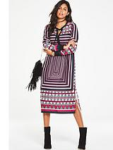 Printed Fringe Detail Midi Dress