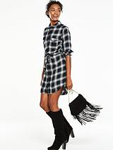 Check Shirt Dress - Monochrome