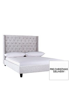 perrienbspfabric-bed-and-headboard-with-mattress-options-buy-and-savenbsp