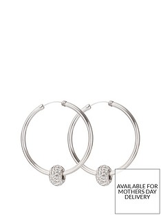 the-love-silver-collection-sterling-silver-40mmnbspcrystal-glitter-slider-hoops