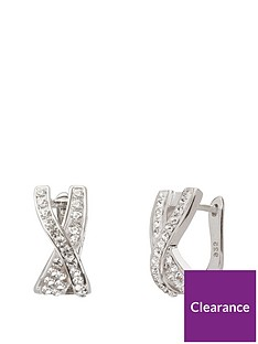 the-love-silver-collection-sterlingnbspsilver-crystal-set-huggienbspkiss-earrings
