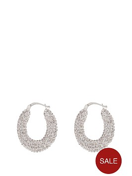 the-love-silver-collection-sterling-silver-crystal-set-creole-earrings