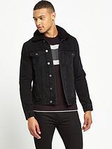 Borg Collar Black Denim Jacket