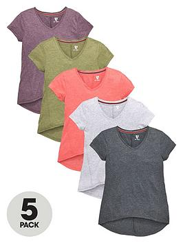 v-by-very-girls-v-neck-t-shirts-5-pack