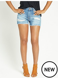 rochelle-humes-distressed-high-waisted-shorts