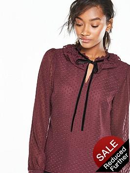 v-by-very-dobby-ruffle-collar-blouse