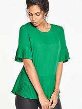 Pleated Sleeve and Hem Blouse